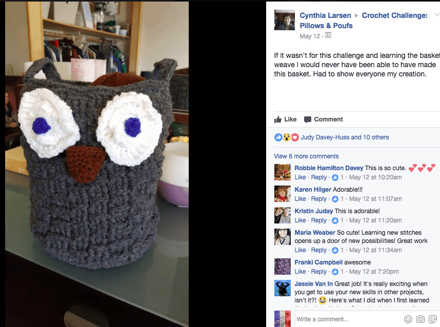crochet basketweave owl basket