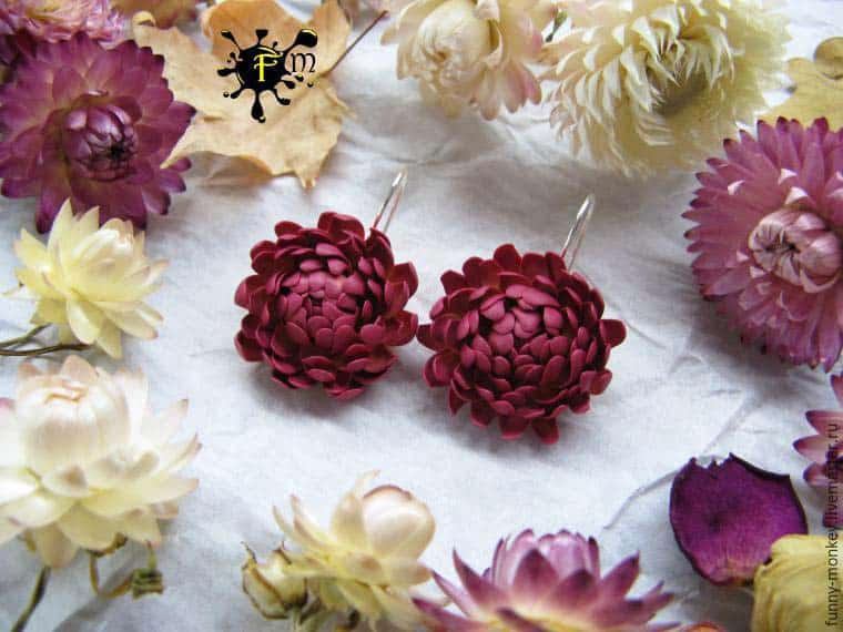 clay polymer Helichrysum flower earrings jewelry