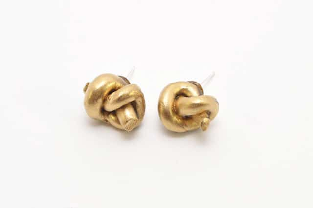 clay polymer metallic know stud earrings Jewelry