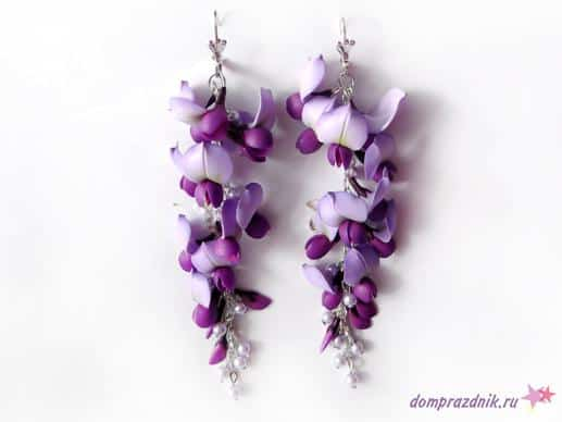 clay polymer wisteria flower earrings Jewelry