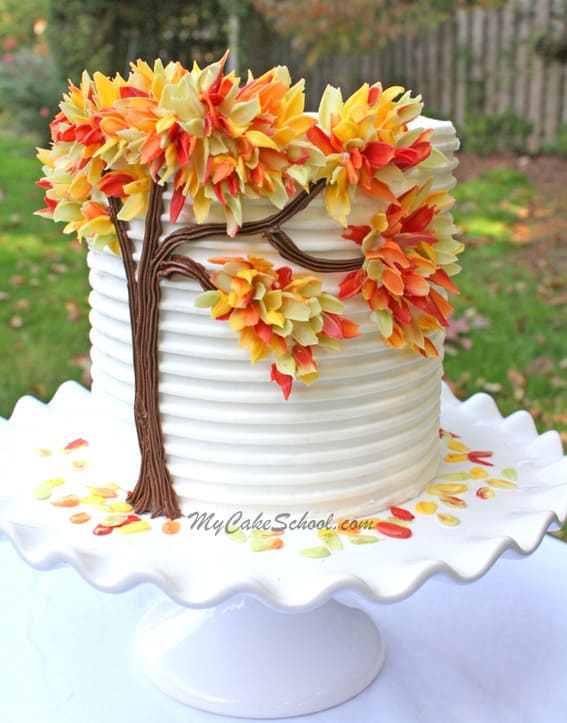 Autumn Leaves in Chocolate - birthday cake decorating ideas