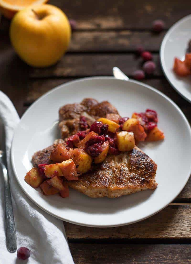 Pork Chops with Cranberry-Apple Compote - quick paleo recipes
