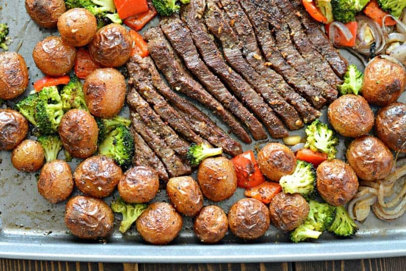 Sheet Pan Flank Steak With Garlic Roasted Potatoes - quick paleo recipes