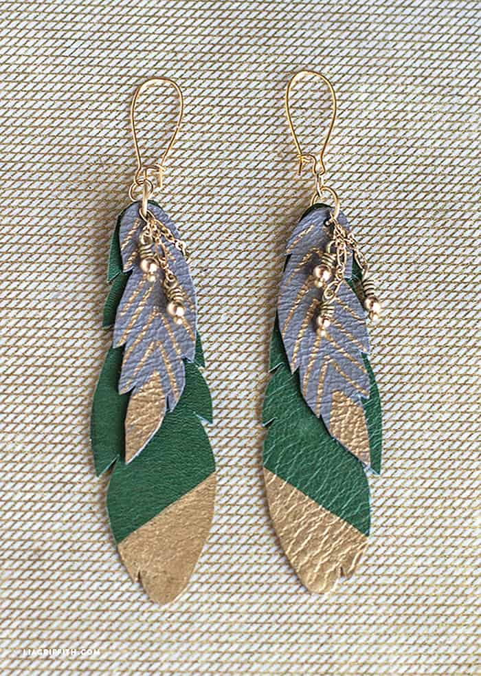 Leather Feather Earrings - beginner jewelry projects