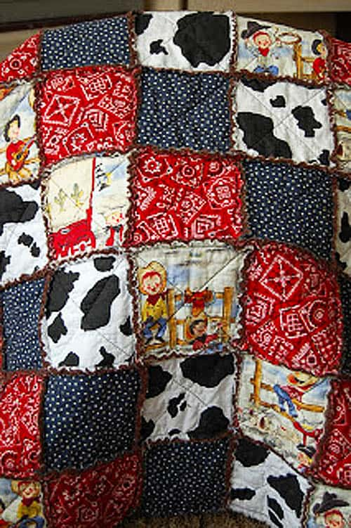 Cowboy Rag Quilt - country quilts