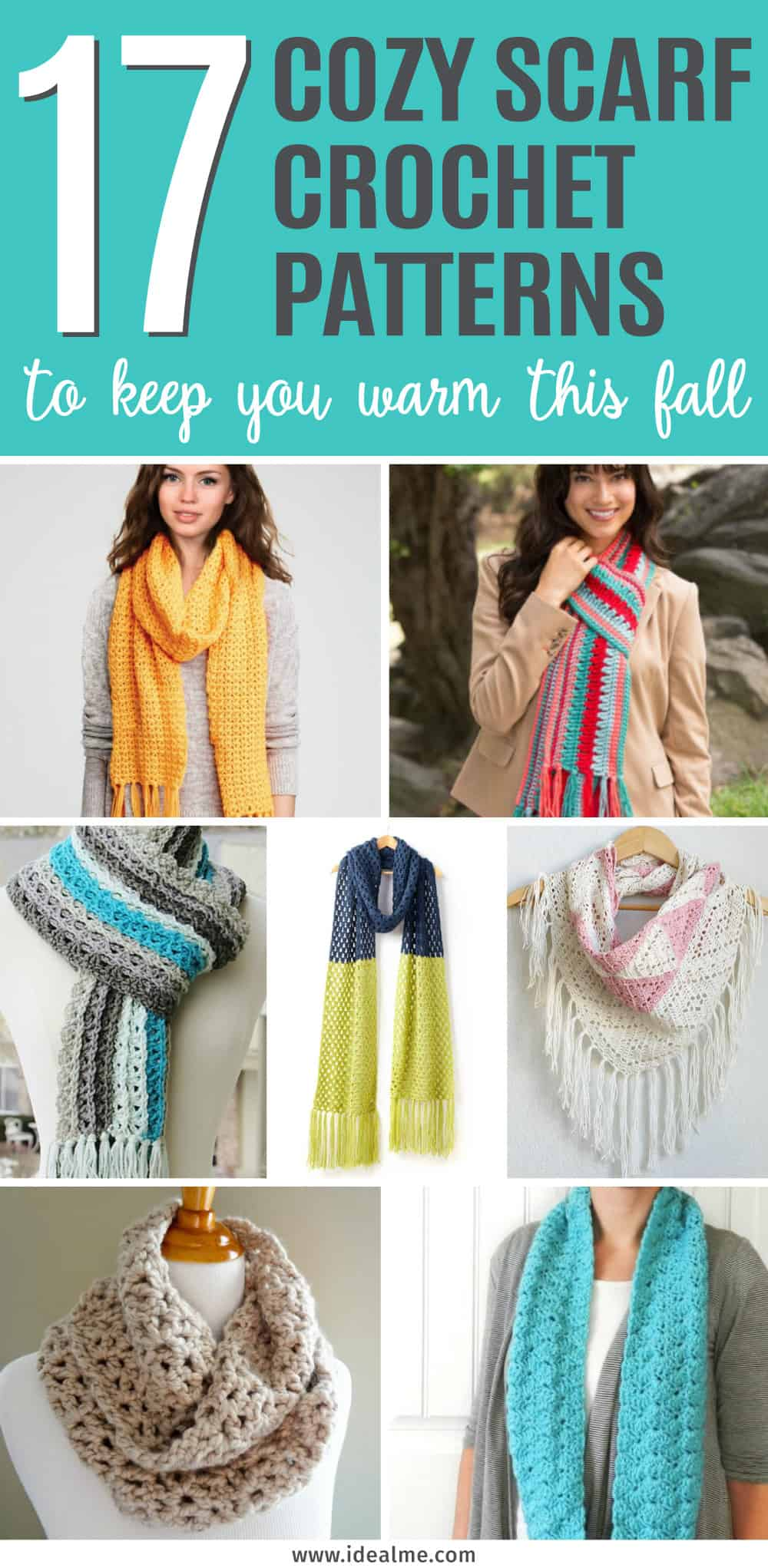 Grab somesoft and cozy yarn. There's something for everyone with these 17 cozy scarf crochet patterns to keep you warm this fall.