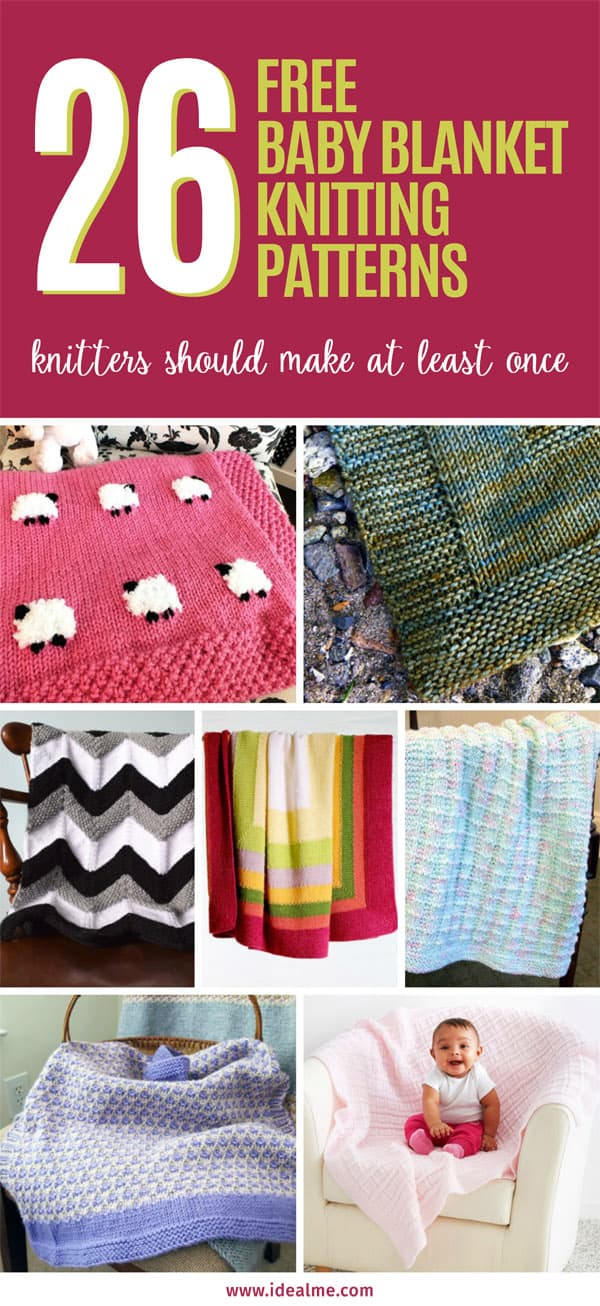 26 free baby blanket knitting patterns #knitblanket #knittingpatterns #babyblankets