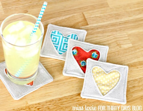 Simple Fabric Heart Coasters - simple sewing projects
