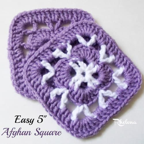 Easy 5″ Afghan Square - easy crochet squares
