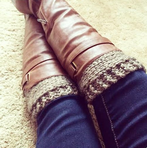 Knitted Boot Cuffs - one-skein knitting patterns