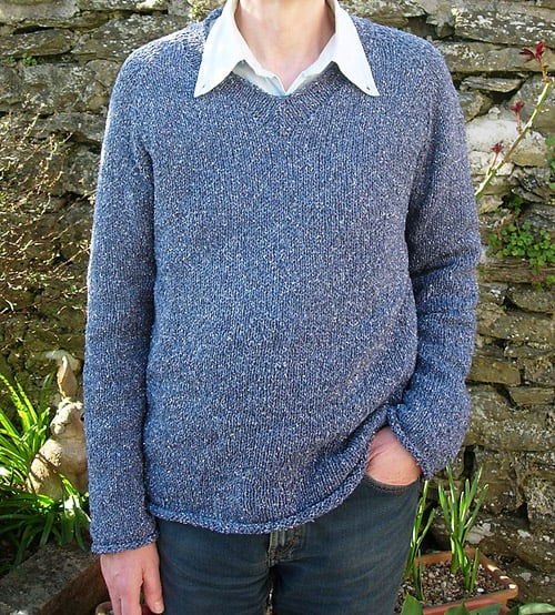 Simple Summer Tweed Top Down V-Neck - knit sweater patterns