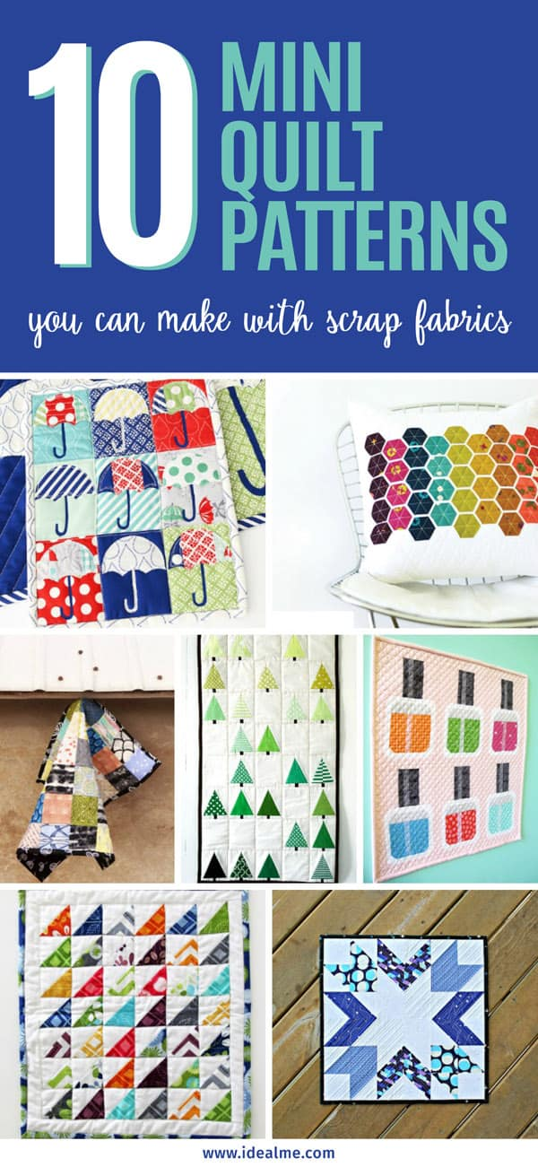Here are some of the cutest mini quilt patterns you can easily make with your scraps. #miniquilts #quilting #quiltingpatterns #miniquiltingpatterns