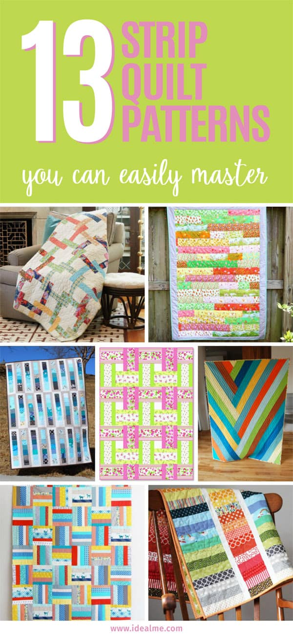 There are strip quilt patterns you can follow to easily use up all that scrap. #quilting #quiltpatterns #stripquilt #stripquiltpatterns