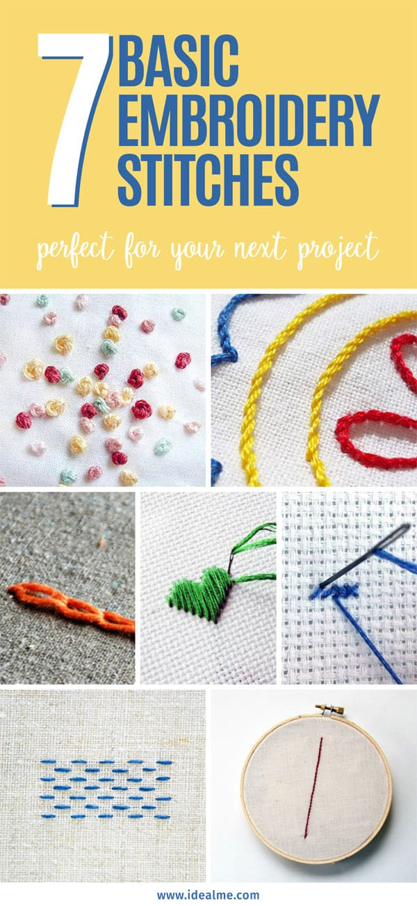 You can't go wrong in learning these 7 basic embroidery stitches. #sewing #embroidery #embroiderystitches #sewingstitches #basicembroidery
