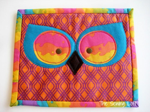Owl Eyes Mug Rug - mini quilt patterns