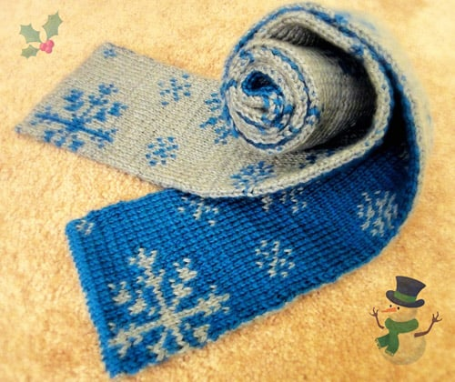 Snowflakes Scarf - double knitting projects