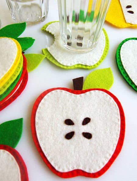 Apple Coasters - things to sew