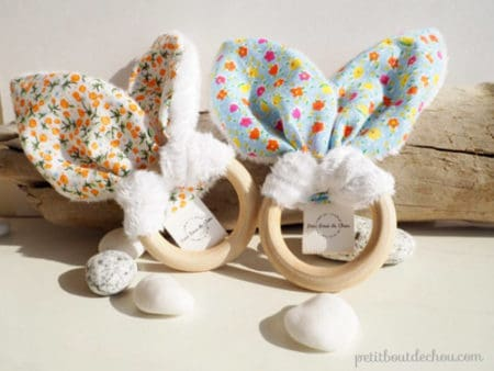 Bunny Ears Baby Teething Rattle - things to sew