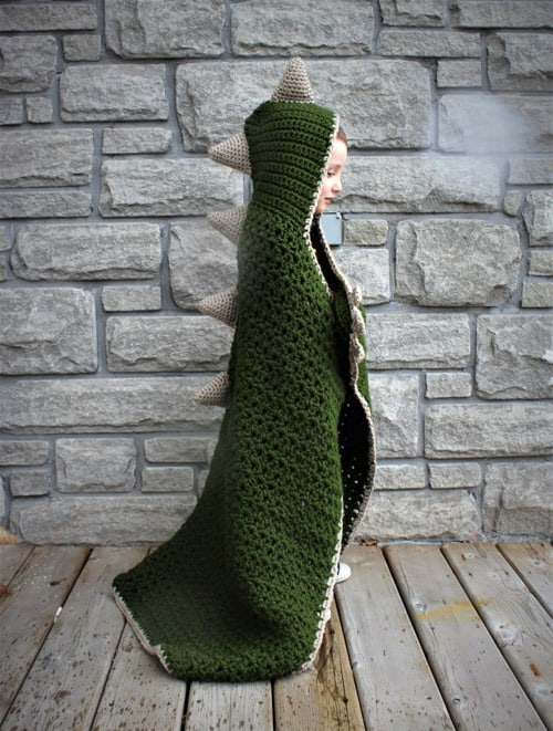 Hooded Dinosaur - free crochet blanket patterns