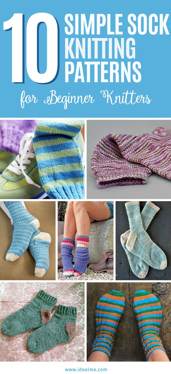 With these 10 simple sock knitting patterns, you can knock a few pairs, easy! #knittingpatterns #knitsocks #knitting #knits