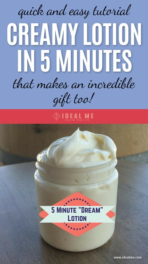 A homemade natural lotion is the perfect winter gift. It's perfect for dry winter skin but still nice and light and doesn't leave your skin feeling oily. Learn how to make this creamy lotion in under 5 minutes with step-by-step instructions. Click to get the recipe.
