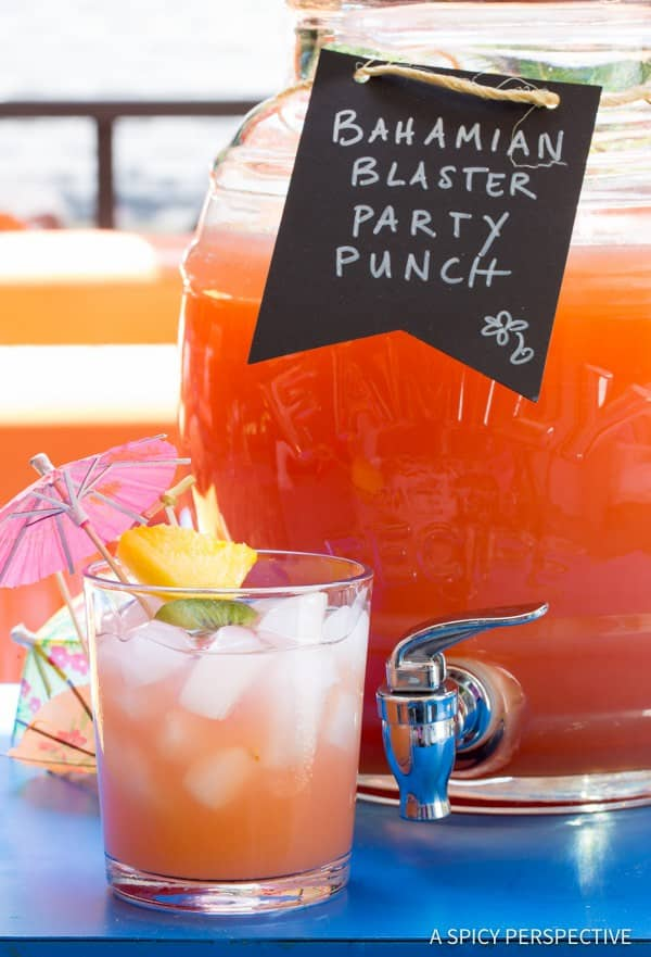 Bahamian-blaster-party-punch. A party isn't a party without some crowd pleasing cocktails. Save your sanity at your next party by having a few of these make-ahead big batch cocktails mixed and ready to serve. Click here to check out these delicious big batch cocktail recipes now.