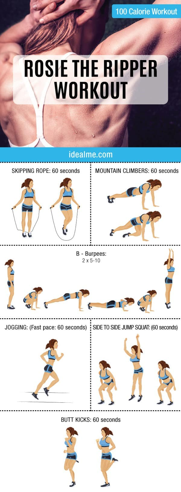 Check out this awesome 10 minute Rosie the Ripper giant set 100-calorie workout. Giant sets are great for people looking to burn extra body fat in a short amount of time.