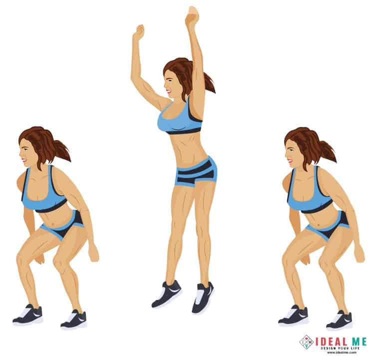 Side-to-side jump squats - Check out this awesome 10 minute Rosie the Ripper giant set 100-calorie workout. Giant sets are great for people looking to burn extra body fat in a short amount of time.