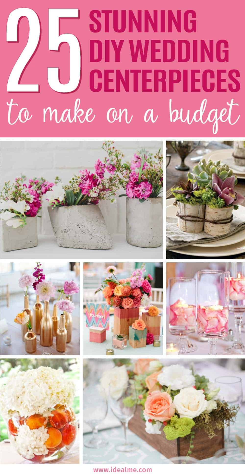 25 stunning diy wedding centerpieces to make on a budget ideal me believe it or not you can create stunning centerpieces without spending much at all junglespirit Image collections