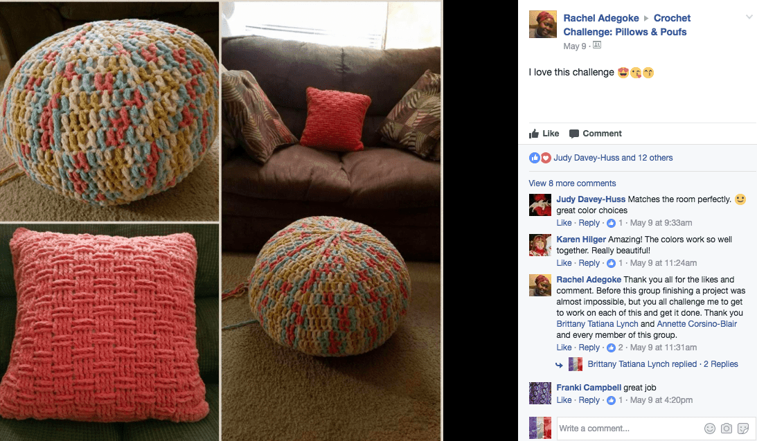crochet multi-coloured pouf and basketweave pillow