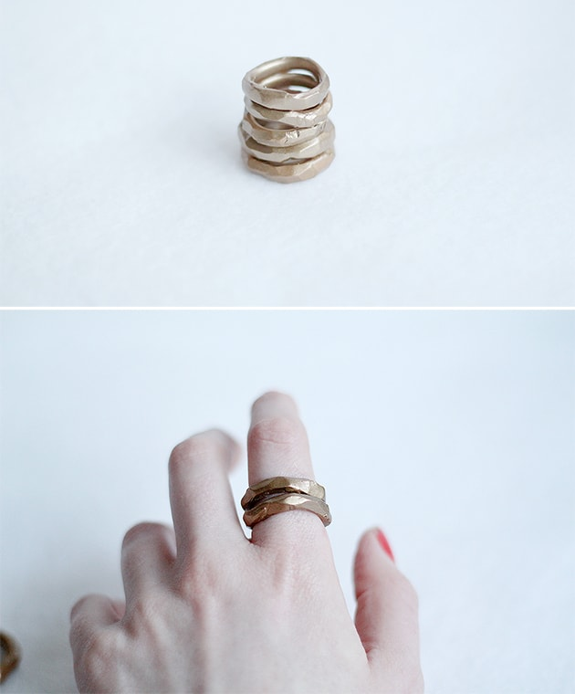 clay polymer Faux Gold Hammered Rings jewelry
