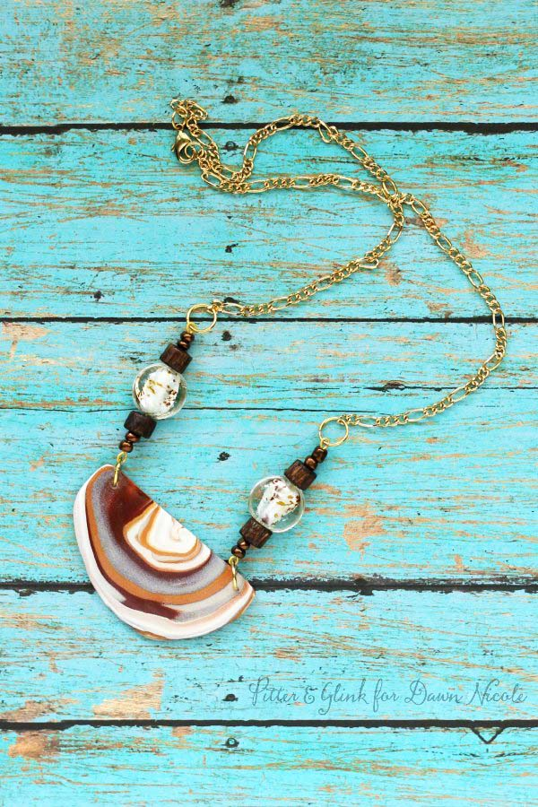 clay polymer faux agate necklace Jewelry