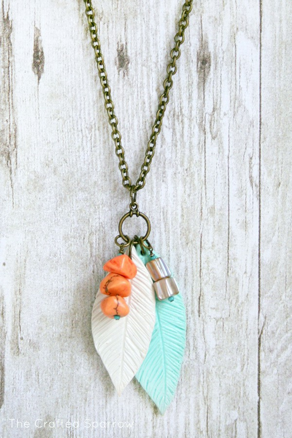clay polymer feather necklace Jewelry
