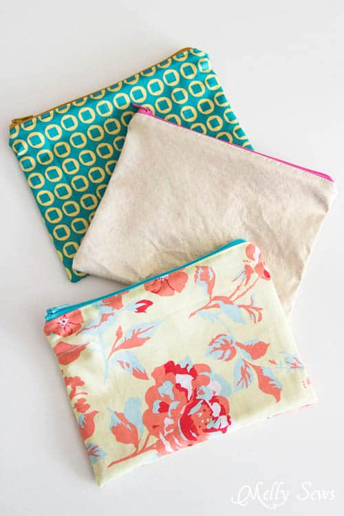 how to sew 15-minute zipper pouches