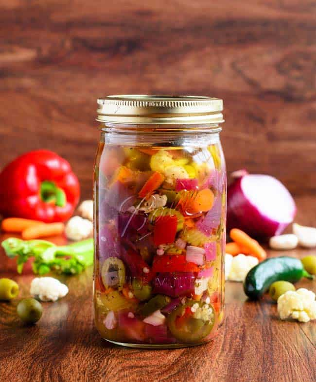 Italian giardiniera - recipe canning vegetables