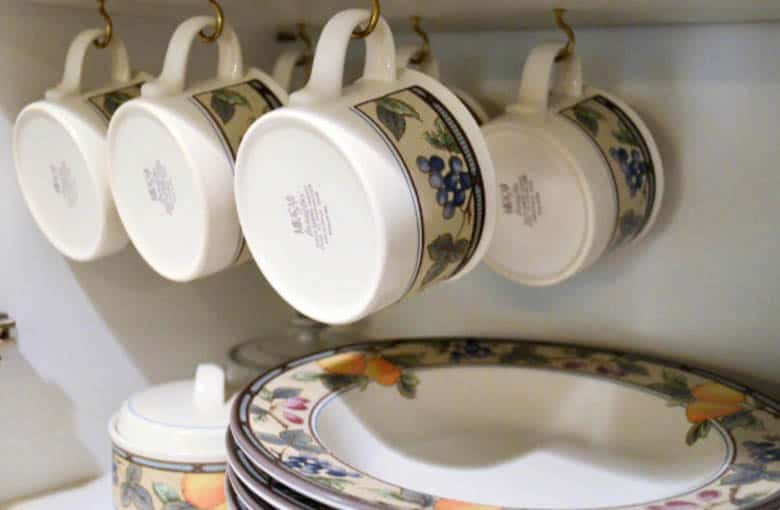 hanging cup hooks - easy storage ideas