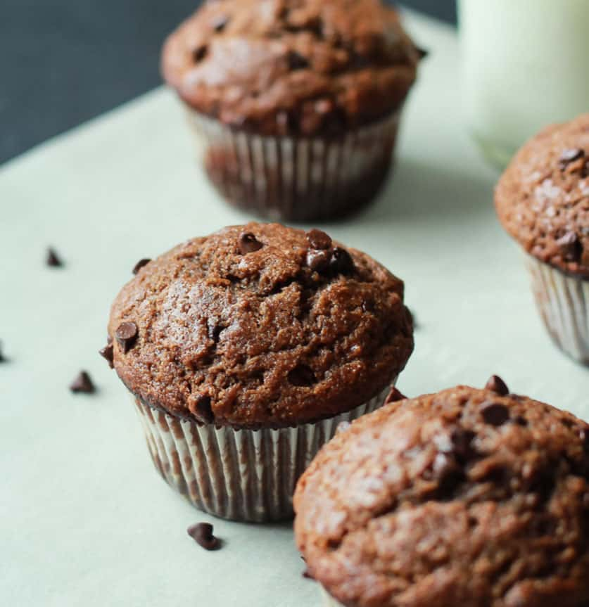 Skinny Double Chocolate Banana Muffins - easy healthy desserts
