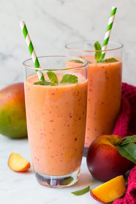 mango peach strawberry smoothie - paleo smoothie ideas