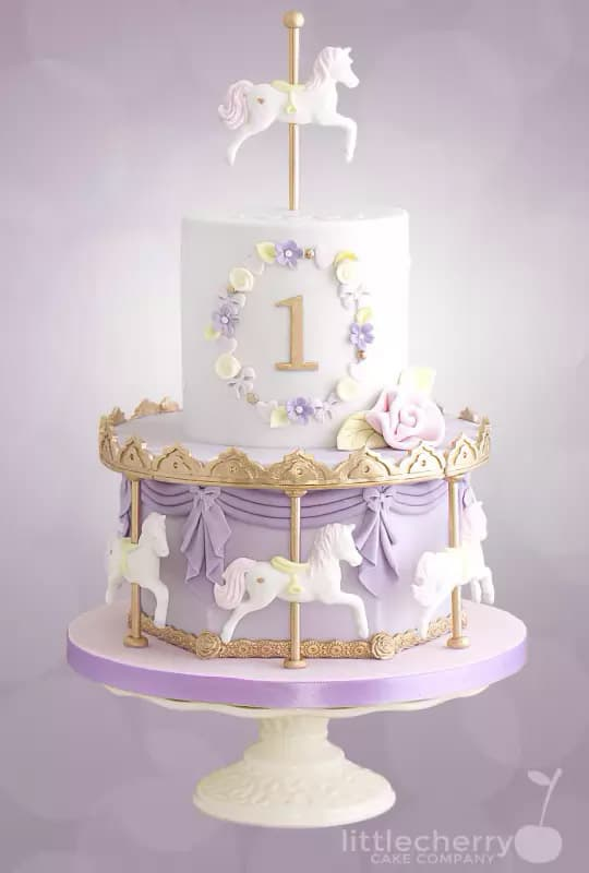 pastel carousel cake - kids birthday cake ideas