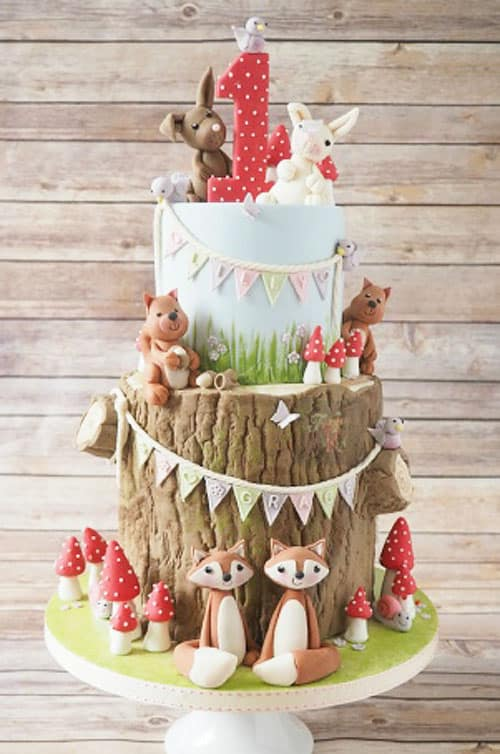 woodland tree stump birthday cake - kids birthday cake ideas