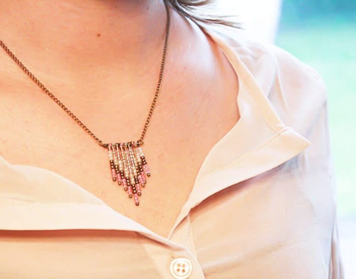 Chevron Beads Chain Necklace - beginner jewelry projects
