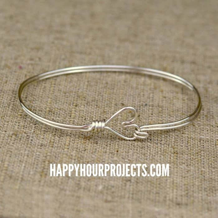Heart Clasp Wire Wrapped Bangle - beginner jewelry projects