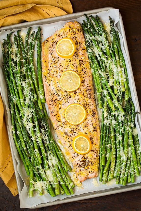One Pan Roasted Lemon Pepper Salmon and Garlic Parmesan Asparagus - gluten free meals