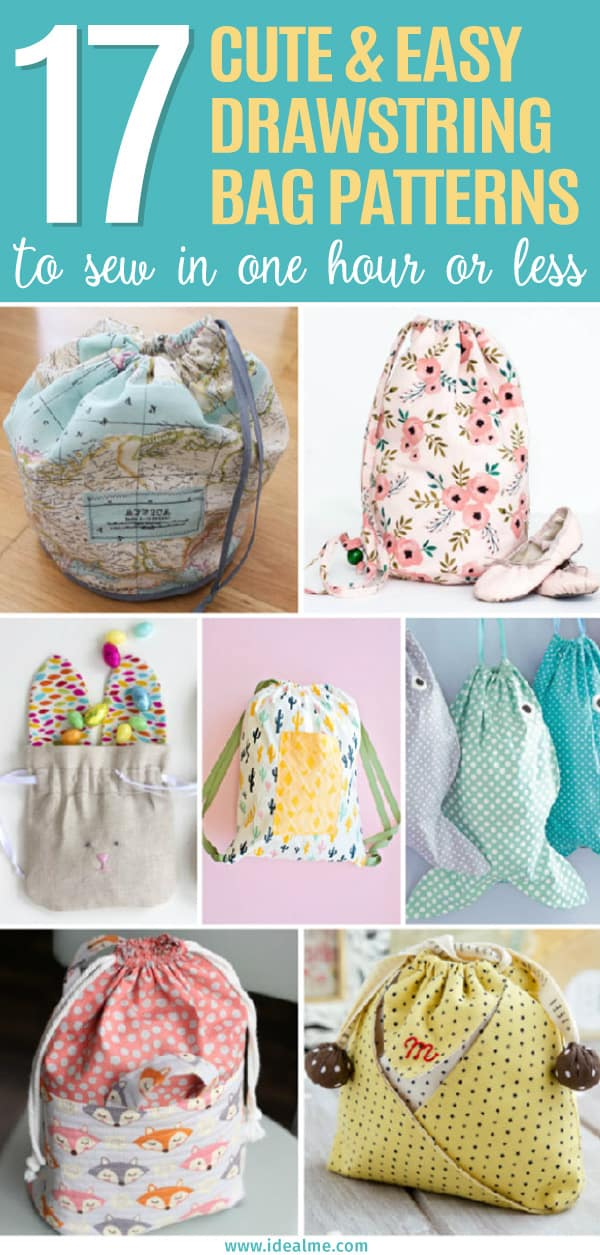 17 Easy Drawstring Bag Patterns to Sew In One Hour or Less - Ideal Me