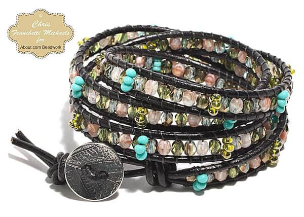 Leather and Bead Wrap Bracelet - jewelry ideas