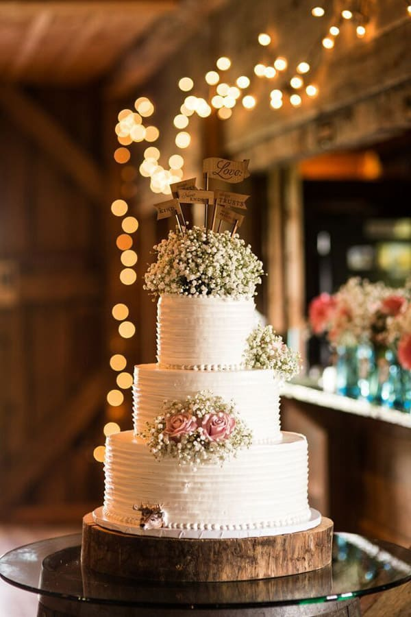 Shabby Chic Rustic Wedding Cake - wedding cake decorating ideas