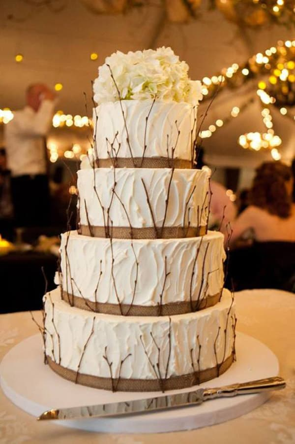 Twigs & Burlap Rustic Wedding Cake - wedding cake decorating ideas