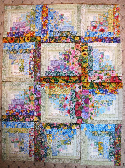 Watercolor Floral Log Cabin Quilt - country quilts