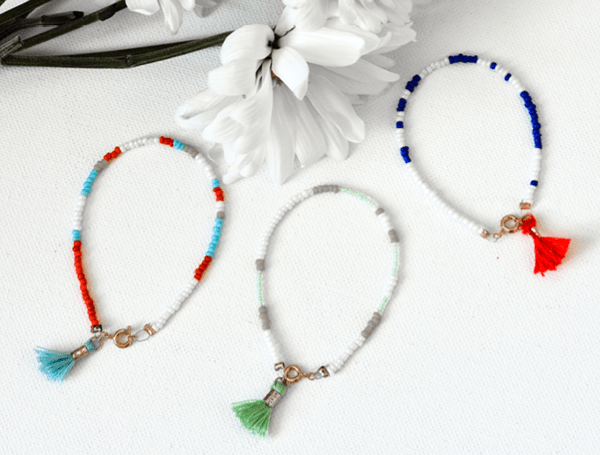 Beaded Tassel Bracelets - easy DIY bracelets