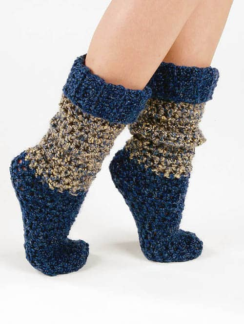 Blue Tweed Crochet Socks